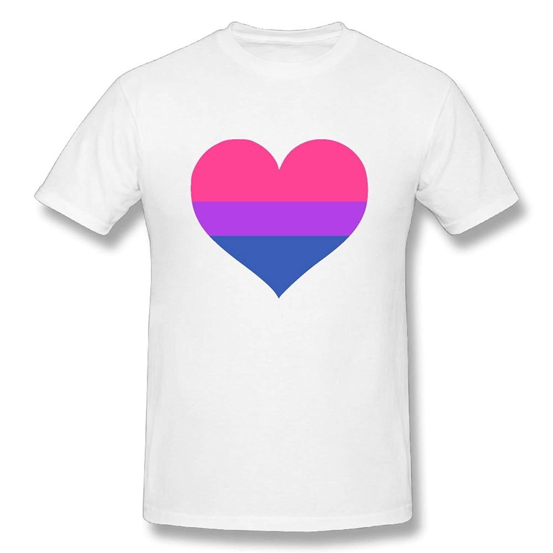 Funny Mens Bisexual Flag Heart  Cotton Prints Casual Short Sleeve Tee Summer Cotton T-Shirt Fashion Harajuku