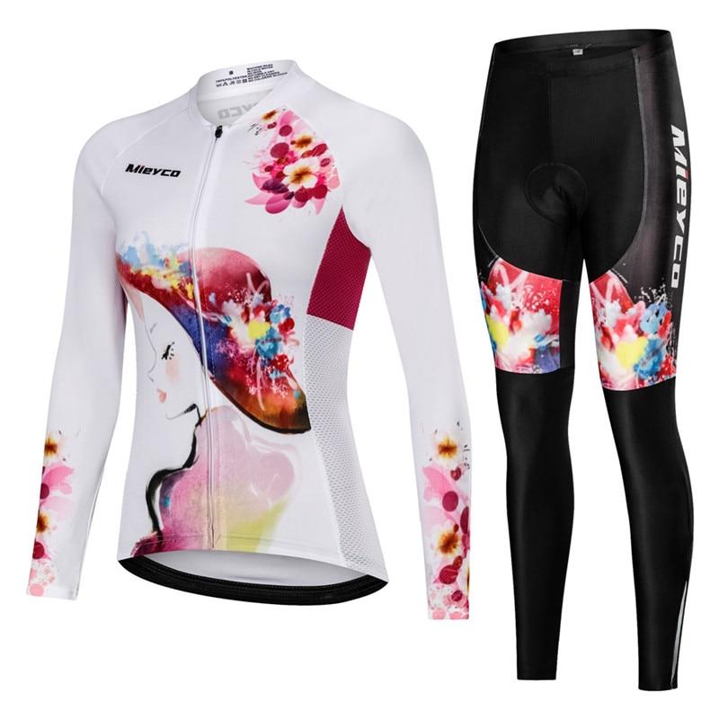 Women long sleeve sets cycling jersey wear Female pro bike clothes kit dress Bib pants bicycle clothing suit MTB mallot