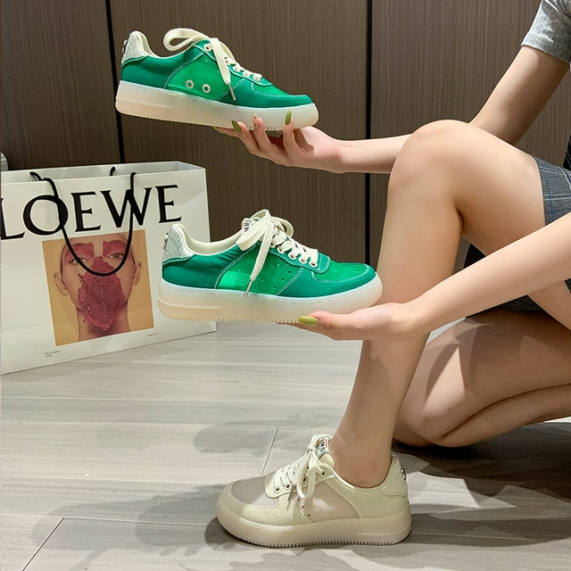 AIYUQI Sneakers Women 2021 Summer New Thick-soled Casual Student Board Shoes Women All-match Hollow Canvas Shoes Women 4