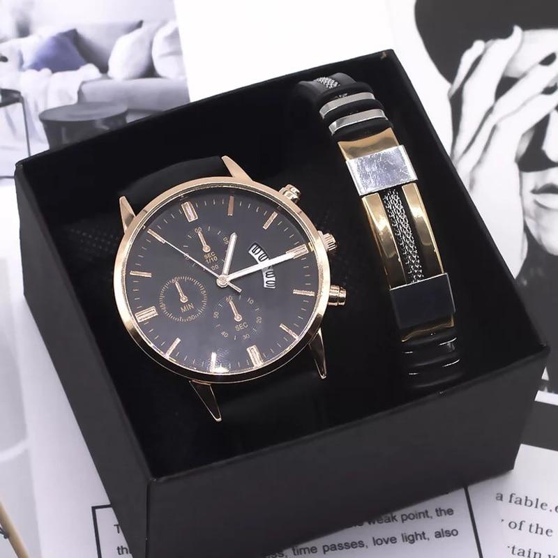 Men Watch Bracelet Set Fashion Sport Wrist Watch Alloy Case Leather Band Watch Quartz Business Wristwatch calendar Clock Gift