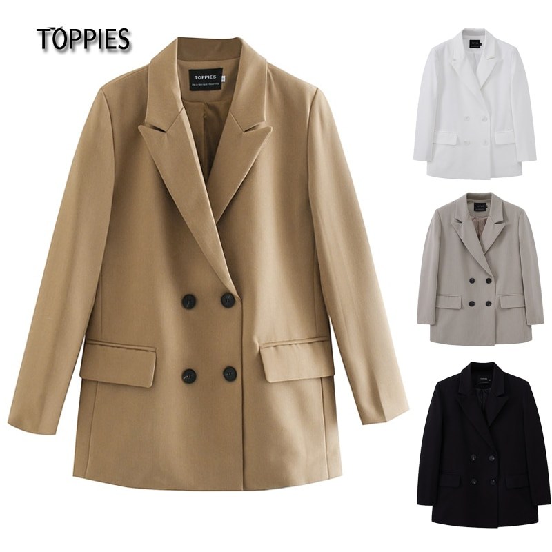 TOPPIES 2021 womens long blazer double breasted suit jacket loose oversize coat solid color formal blazer