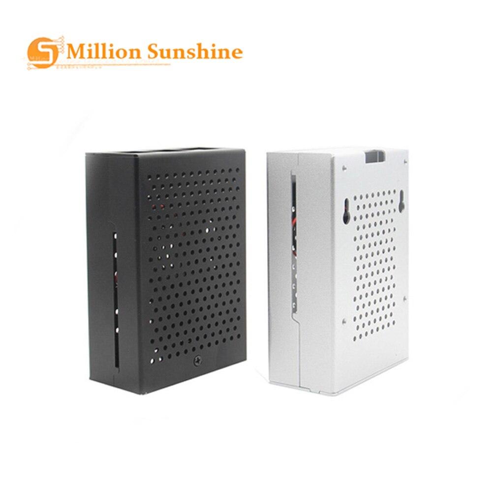Raspberry Pi 3 B + caja de aluminio con ventilador, caja de...