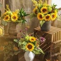 Haute qualite 6 tete 45cm artificielle tournesol bouquet decor a la maison flores artificiales fack fleurs deco mariage decoration jardin