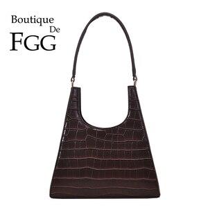 Boutique De FGG Crocodile Pattern PU Leather Women Fashion Totes Purses and Handbags Top-Handle Shoulder Bags