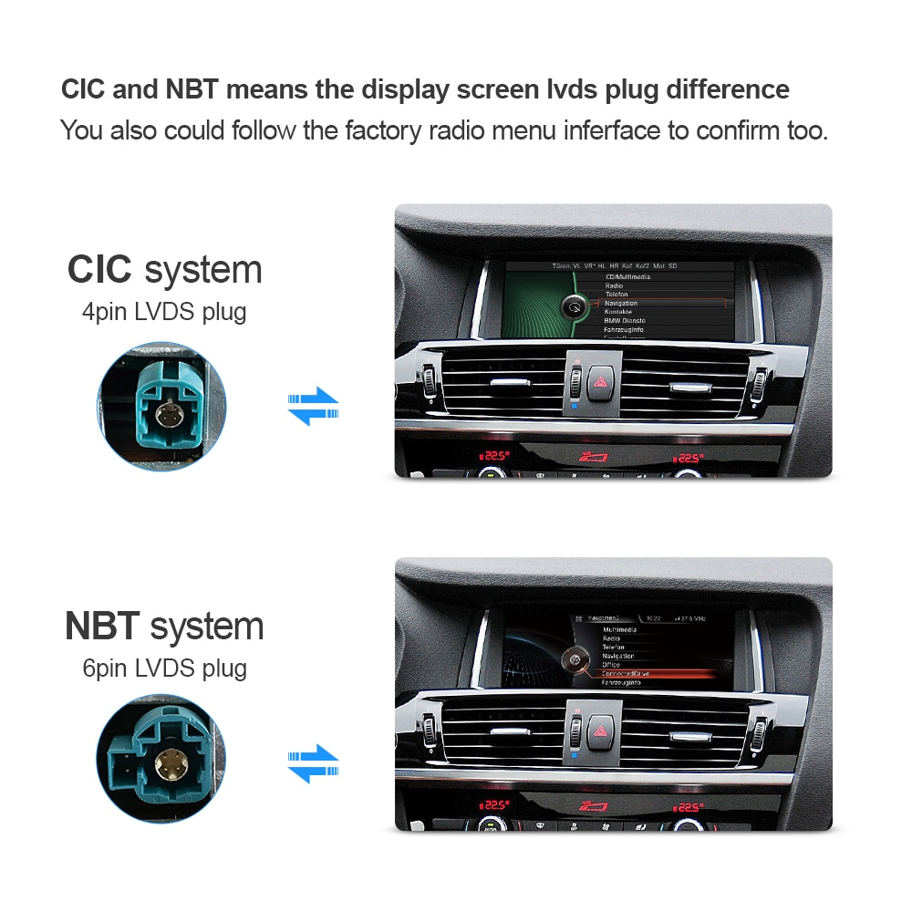 Car Multimedia Player for BMW X3 F25 X4 F26 CIC NBT System Android 10.0 Autoradio Headunit Navigation GPS 10.25' Screen IPS 4G