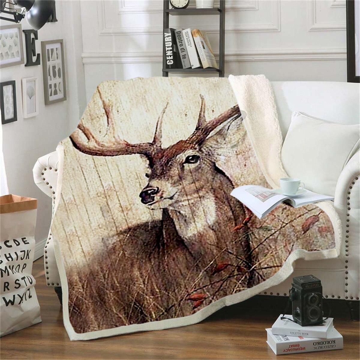 Deer Hunting Fleece Blanket 3D printed Sherpa Blanket on Bed Home Textiles Dreamlike HOME ACCESSORIES