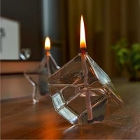 o roselif cubic shaped glass oil lamp wedding home decoration accessories candelabro handcraft candle holder gift candle holder