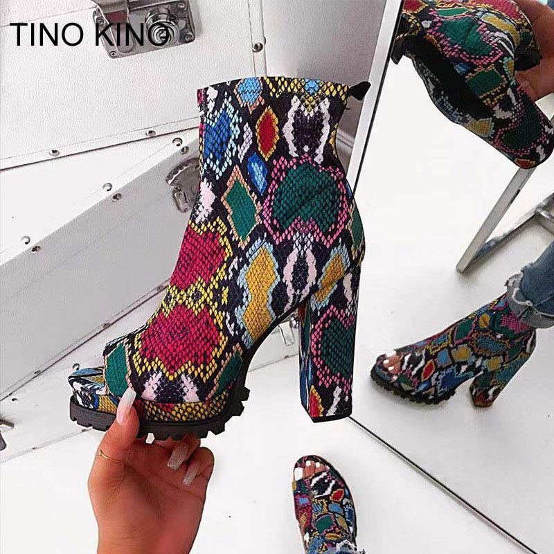 Botines con cremallera para mujer, diseño de serpiente, plataforma gruesa, tacones altos, Color mixto, zapatos de leopardo a la moda