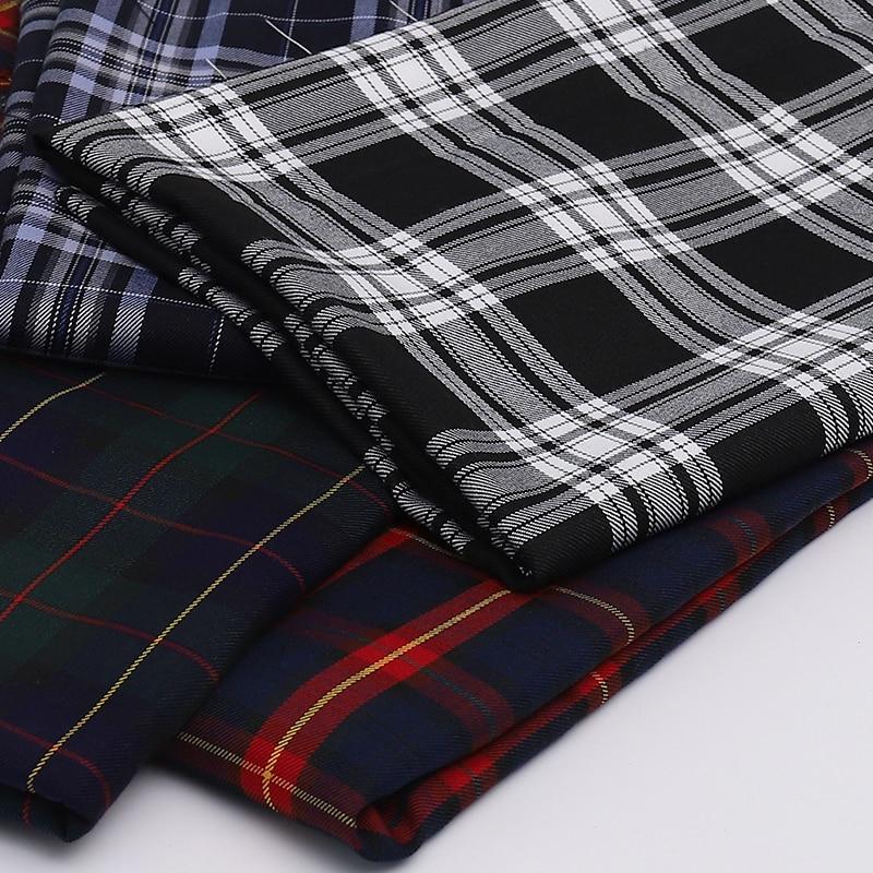 145cm x 50cm polyester twill überprüfen tuch garn gefärbt Schottischen plaid stoff für kleidung taschen kleid JK Plissee rock uniform