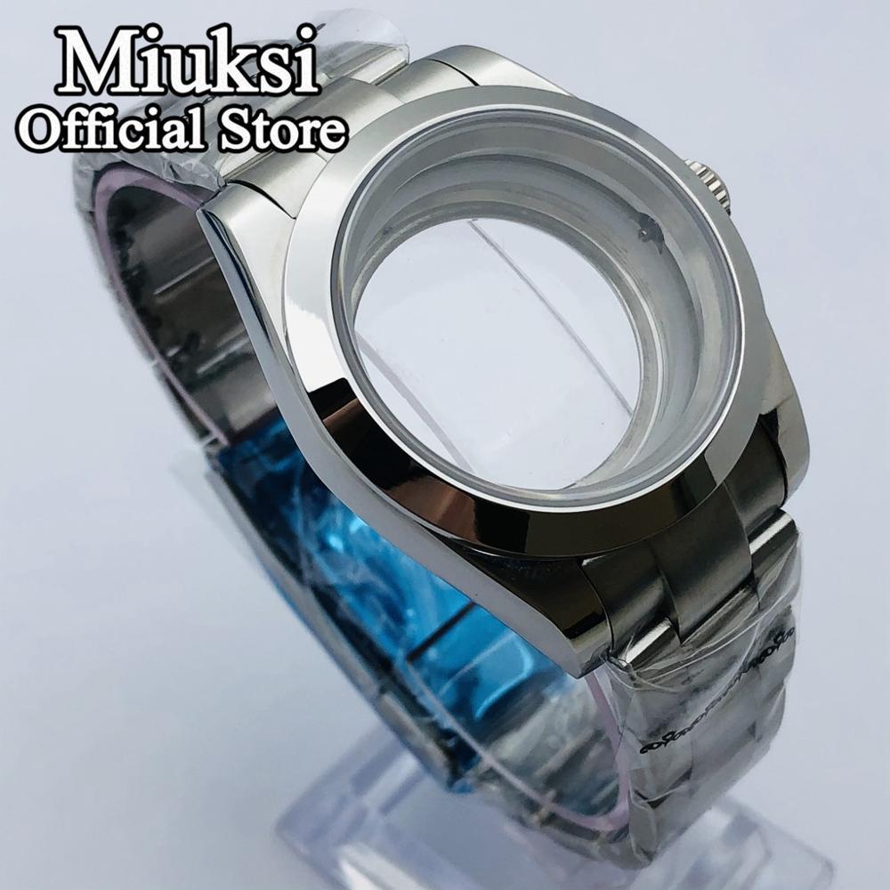 Miuksi 36mm/40mm sapphire glass silver case glass back fit NH35 NH36 ETA2836 Mingzhu DG2813 3804 Miyota 8205 8215 821A movement enlarge