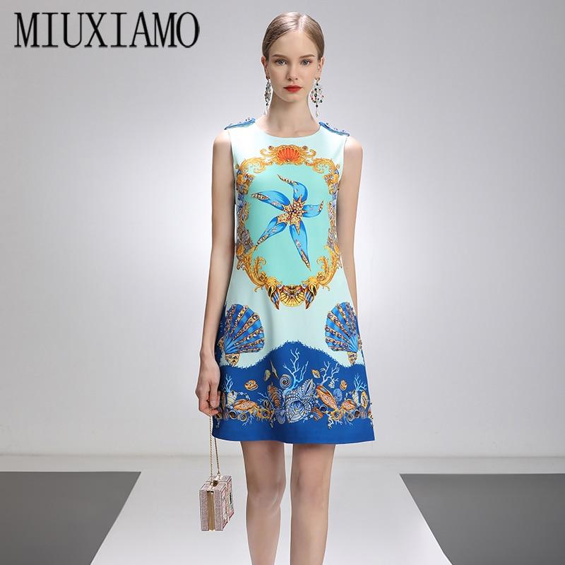 MIUXIMAO-فستان سهرة نسائي ، ربيع وصيف 2021 ، شكل نجم البحر ، أحجار الراين ، فوق الركبة ، بدون أكمام ، مكتب ، أزرق ، غير رسمي