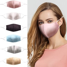 Elegant Silk Dress Mask For Women Summer Pink Sliver Satin Face Masks Anti-dust Pm2.5 Adjust Nose St