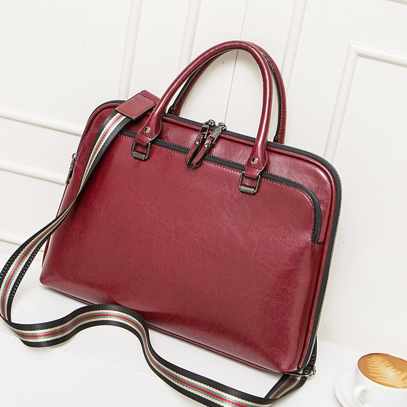 2021 Cowhide Women's Briefcase Business Handbag Women Genuine Leather Bag 14.6 Inches Laptop Computer Bag Office Bags For Female