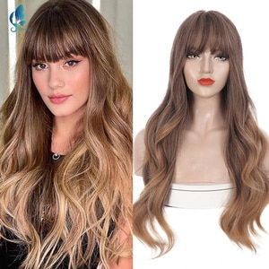 Women Synthetic Wig Heat-resistant Long Curly Big Wave Wig With Bangs Brown Cosplay Wigs