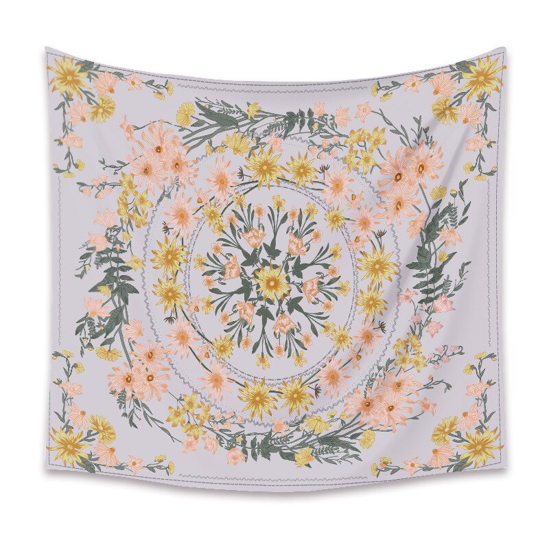 Индийский гобелен с мандалой, настенный подвесной цветок, психоделический гобелен, Настенный декор для гостиной, спальни, богемный цветочн...