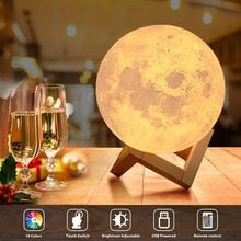 3D Printed White Lunar Moon Lamp USB Charging LED Night Light Touch Remote Control Atmosphere Ins Ga