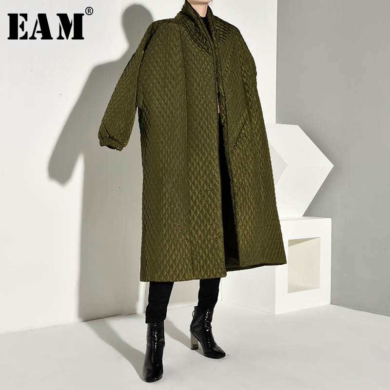 [EAM] botón trasero de gran tamaño de algodón acolchado abrigo de manga larga suelta Fit mujeres Parkas moda marea nueva primavera otoño 2020 WTH120