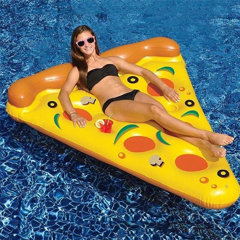 Inflable de verano con forma de Pizza, flotadores de piscina, colchones de aire balsa, juguetes de playa deportivos acuáticos divertidos para adultos