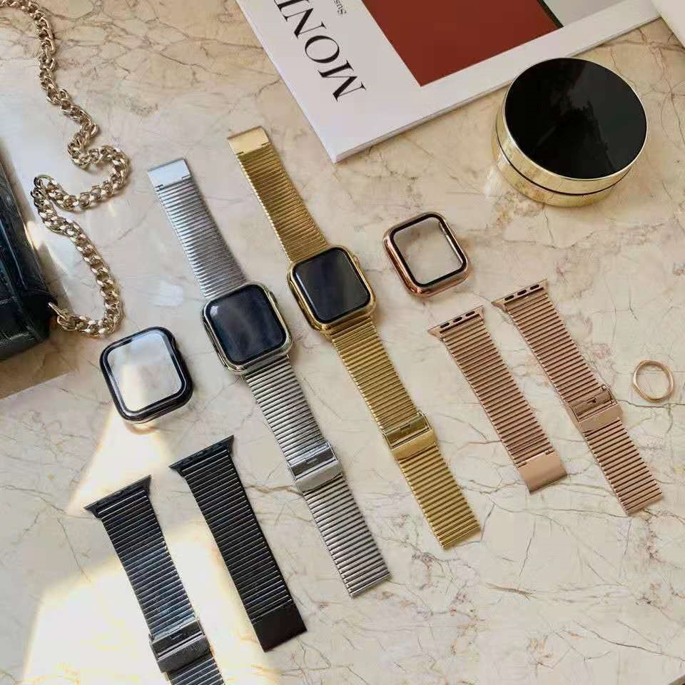strap for apple watch 6 band 44mm 40mm 42mm 38mm leather replacement strap for iwatch apple se series 6 5 4 3 2 1 bracelet Metal strap for Apple watch 6 5 4 SE band 40mm 44mm Stainless Steel Replacement Strap for iwatch series 3 2 1 42mm 38mm bracelet