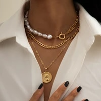 hi man 3pcsset baroque pearl clavicle chain queen coin pendant necklace women high quality glamour wedding jewelry