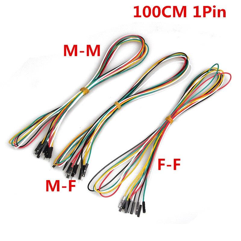 Cables de puente de placa de pruebas de 1M, 1pin, 24AWG, 20 unids/lote, M-M macho-hembra de F-F, línea de Cable DuPont de 2,54mm para experimento electrónico DIY