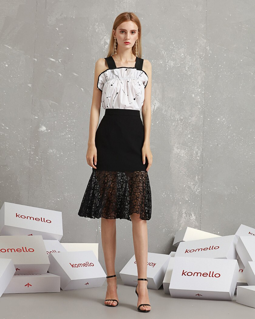 Women's Black Lace Patchwork Skirt , Designer Style Skirt for Ladies