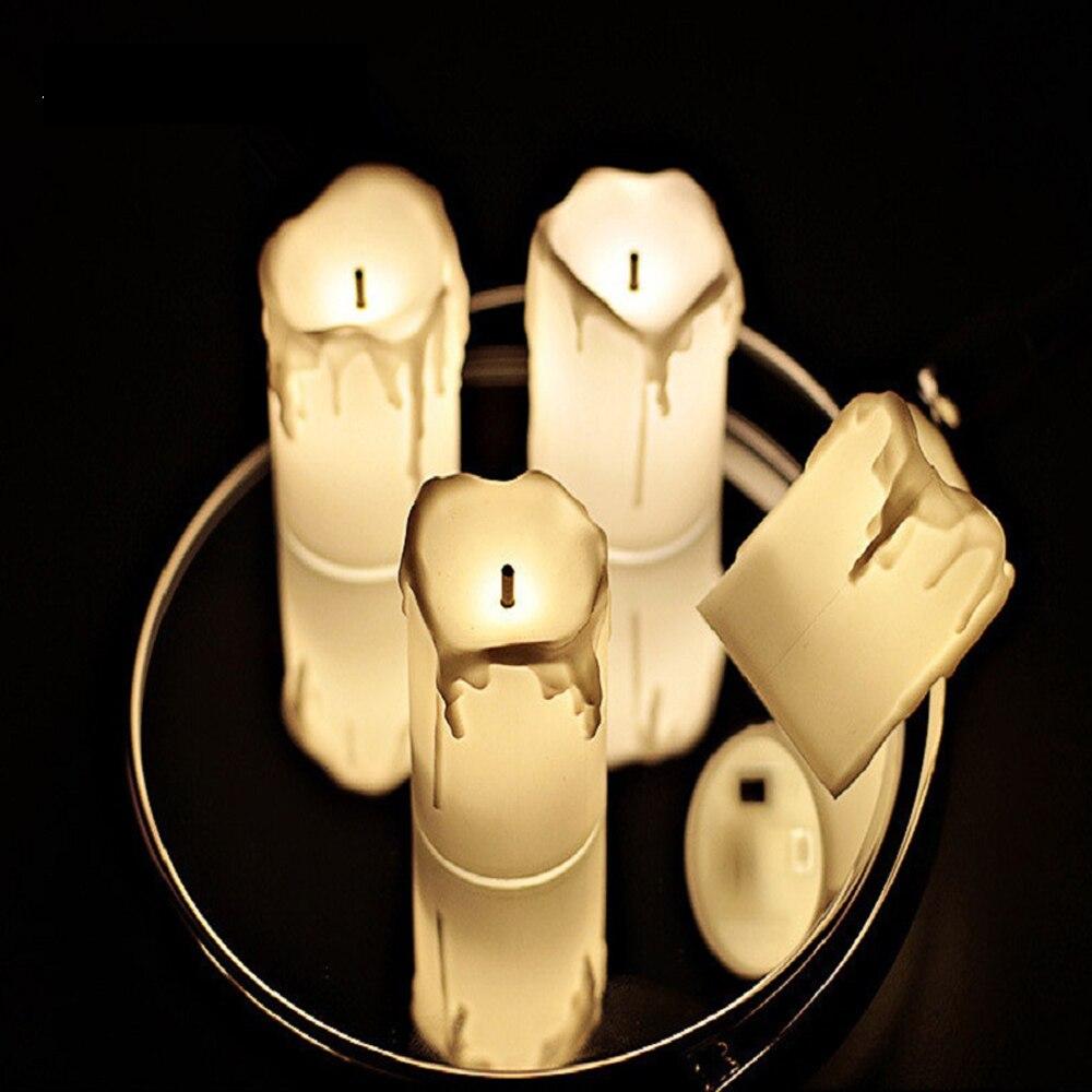 12 шт. в упаковке свечи без пламени новогодние Свечи светодиодсветодиодный Чайные Свечи Романтический креативный светильник в виде батика с...