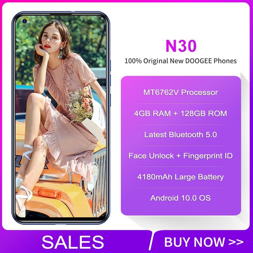DOOGEE N30 النسخة العالمية الهاتف الذكي 4GB 128GB 16MP رباعية الخلفية كاميرات 4180mAh الروبوت 10 6.5