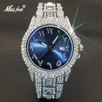 missfox luxury men watches women top brand hip hop diamond quartz wristwatch punk bule dial stainless steel clock couples gift