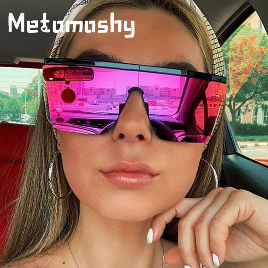 Luxury Brand Oversized Sunglasses for Women Vintage Gradient Lens Mirrors Men Flat Top Eyewear Rivet