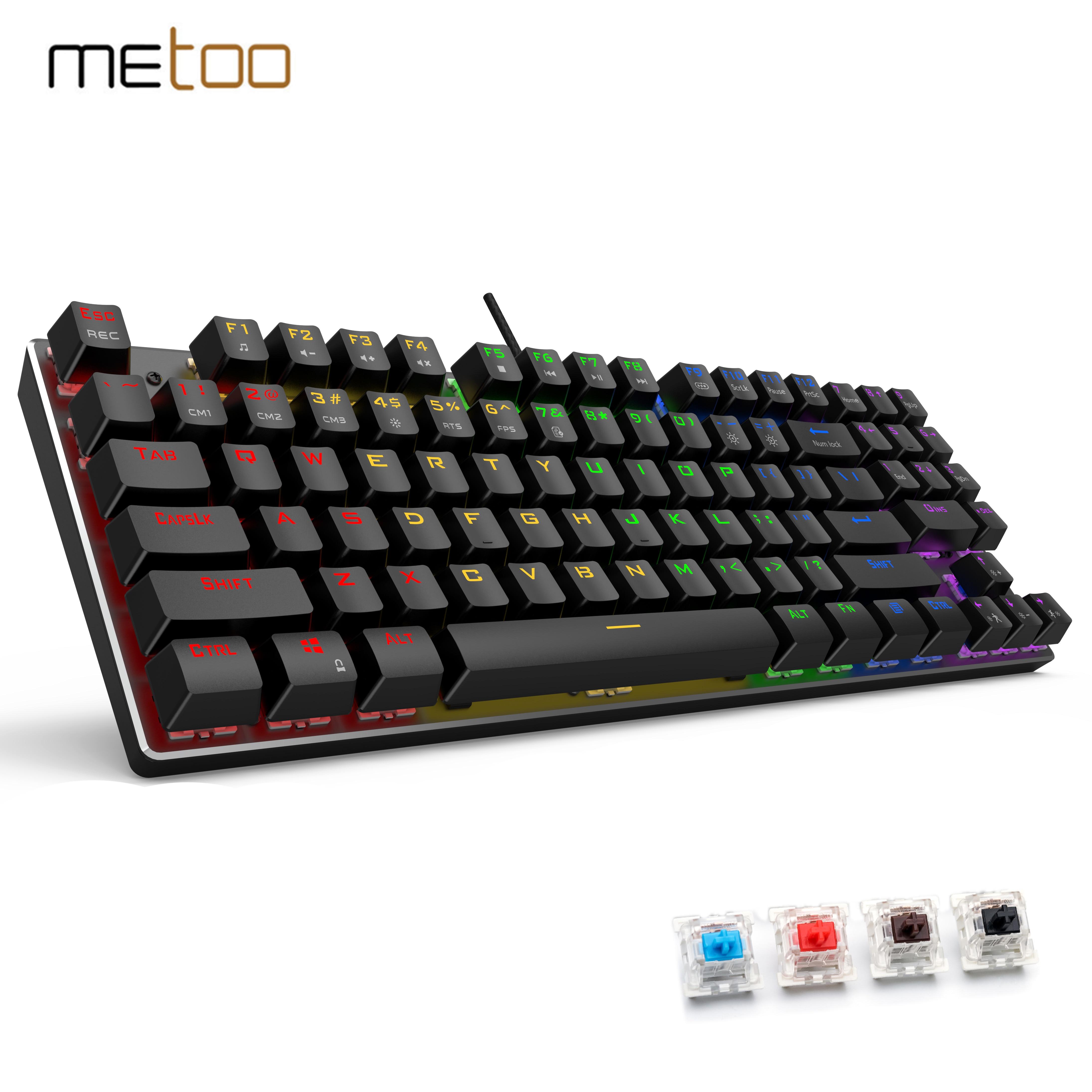 Игровая механическая клавиатура Metoo Edition 89kyes, русская Проводная USB клавиатура с защитой от фиктивных нажатий для игровых ноутбуков и ПК