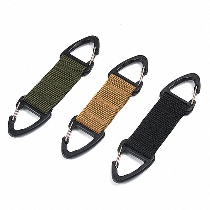 outdoor camping military tactical nylon belt metal hanging carabiner backpack hook clasp survival gear keychain outdoor tools Hiking Carabiner Webbing Belt Clip Climbing Buckle Keychain Hook Tactical Bag Backpack Clip Clasp EDC Outdoor Camping Equiment