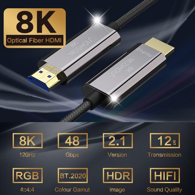 HDMI 2,1 Kabel OM3 HDMI 8K Deluxe HDMI Kabel Optische Faser Ultra-HD (UHD) 120Hz 48Gbs HDR 4:4:4 für Samsung 8K TV