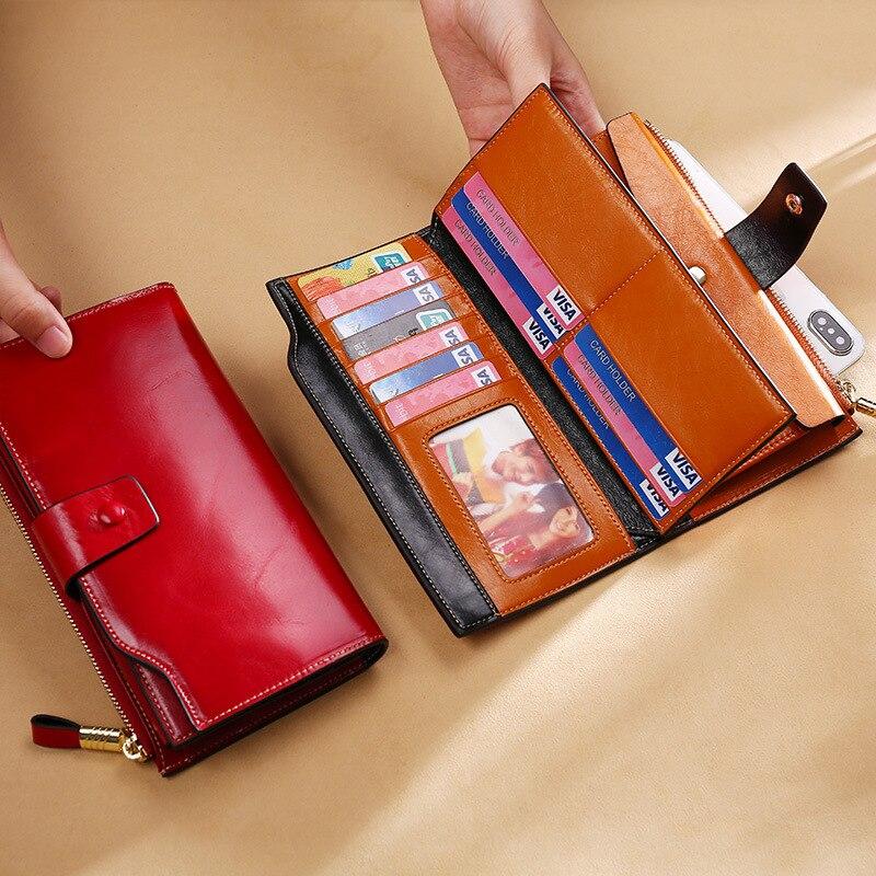 Купить с кэшбэком KEVIN YUN Vintage Luxury Women Wallets Genuine Leather Long Zipper Clutch Purse Large Capacity Card Holder Wallet