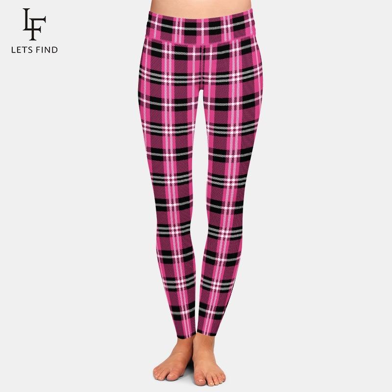 LETSFIND Mode Frauen Plaid Druck Legging Sexy Hohe Taille Fitness Hosen Raster Streifen Stretch Leggings Plus Größe