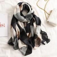 2020 new design brand spring women scarf fashion plaid print cotton hijabs scarves for ladies shawls and wraps pashmina stoles