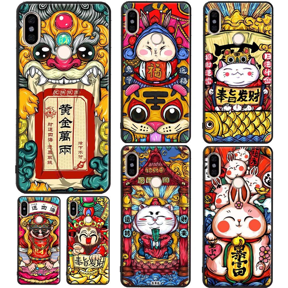 Funda de estilo chino con Gato y conejo dragón para Xiaomi Mi 9 9T Note 10 Lite A3 Mix3 Max3 Redmi Note 8 Pro 7 9 K30 8T 9S 7A 8A