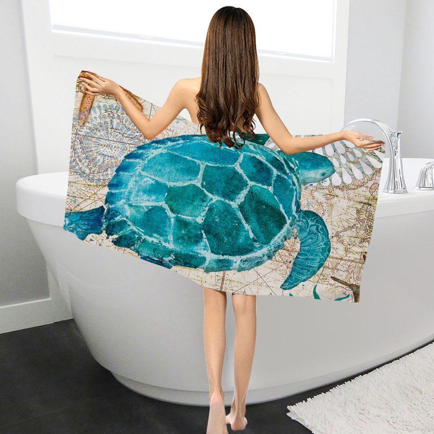 30 Bath Towel Whale Turtle Shower Towel Face Towel Bathroom Home for Kids Adults Toalla Facial Visage Serviette Toalha
