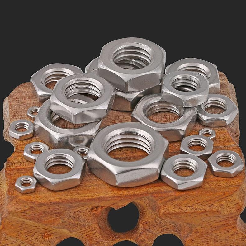 DIN439 316 304 Acero inoxidable tuerca hexagonal delgada tuerca delgada M3-M20 suministro de puntos 5 uds