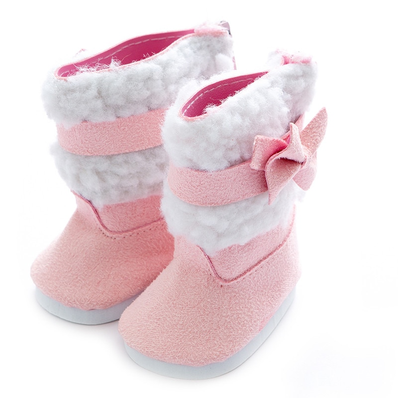 Doll Shoes Doll Accessories Fit 43cm 17-18 inch Pink White Plush Boots For Baby Birthday Gift недорого