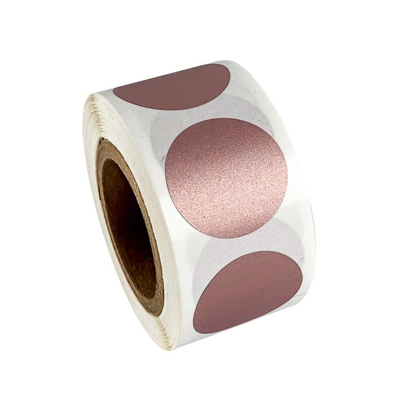 Pegatinas redondas de 1 pulgada para rascar, color oro rosa, para manualidades, cinta de etiquetas manual, rayas rayadas hechas a mano, 50 Uds.