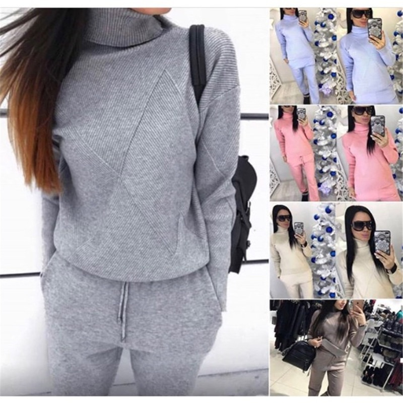Two Piece Set Outfits for Women  High Collar Casual Tracksuits Knitting Sweater спортивный костюм женск