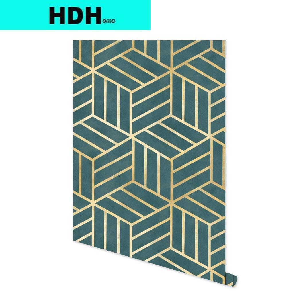 Темно-зеленая Геометрическая Шестигранная самоклеящаяся настенная бумага в золотую полоску, самоклеящаяся бумажная полка, виниловая наст...