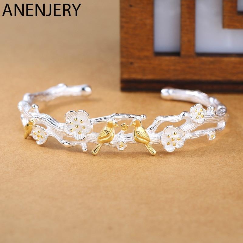 ANENJERY Fashion Little Bird and Plum Blossom Adjustable Bangle Bracelet 925 Sterling Silver Bangle Gifts S-B275