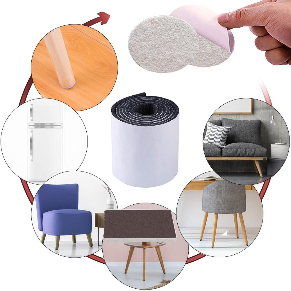 Rollo de cinta de fieltro para muebles, silla, patas de mesa, protectores de suelo de madera, antideslizantes, autoadhesivos, silenciosos, alfombrilla para suelo de madera dura