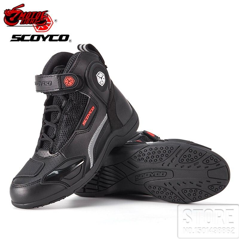 أحذية رجالية أصلية للدرجات النارية من SCOYCO موضة غير رسمية أحذية جلدية مقاومة للانزلاق بنسيج شبكي يسمح بالتهوية للحماية