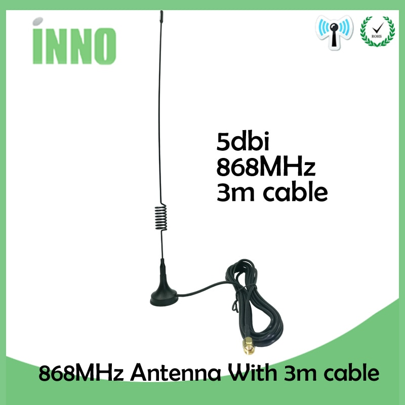 10pcs/lot 868Mhz 915MHz 900 to 1800 Mhz Gsm Antenna 3G 5dbi Sma Male With 300cm Cable RG174 Sucker Antenna