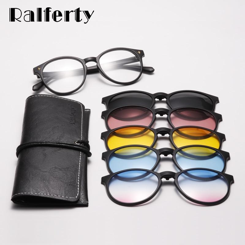 Rallferty 5 en 1 clips redondos en gafas polarizadas UV400 mujeres Anti azul magnético gafas de sol de conducción óptica Marco de gafas de sol