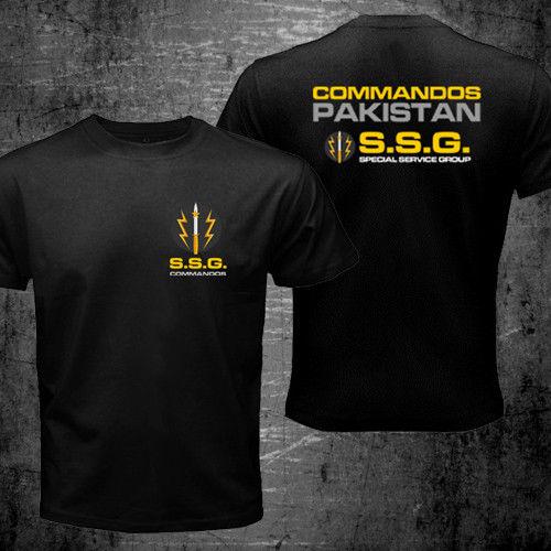 NUEVO ESTILO DE VERANO Ssg Commandos Pakistán Grupo de servicio de las Fuerzas Especiales ejército militar creativo novedad camisas de algodón de doble cara