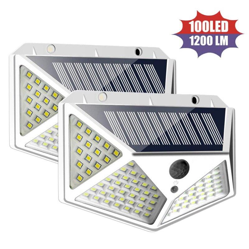 100 LED Solar Lamp Outdoor Solar Light Powered Sunlight Waterproof PIR Motion Sensor Street Lamps Home Wall Light Garden Lights